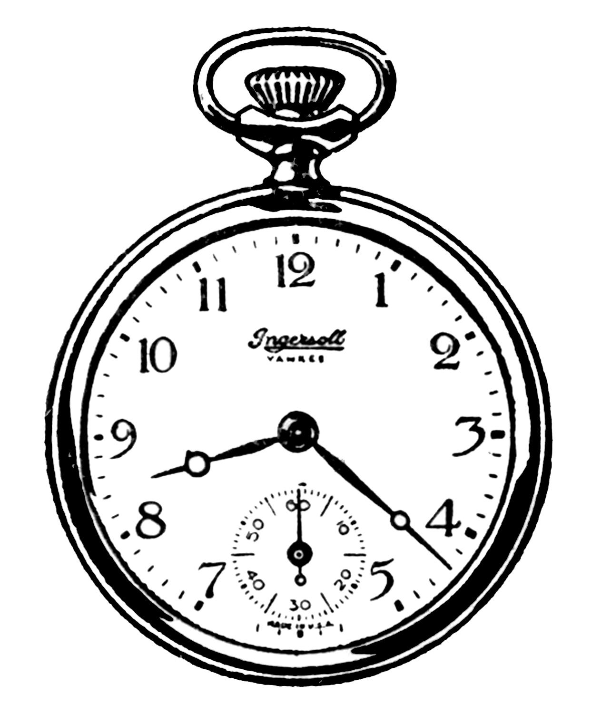 Pocket Watch clipart chain sketch Black Pocket Clip and Vintage