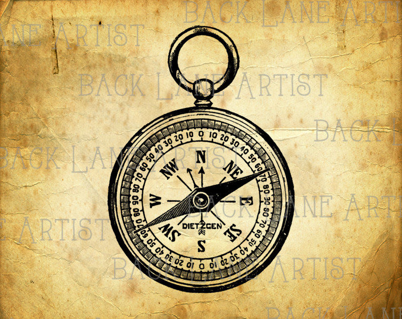 Pocket Watch clipart compass Compass file is Instant Lineart