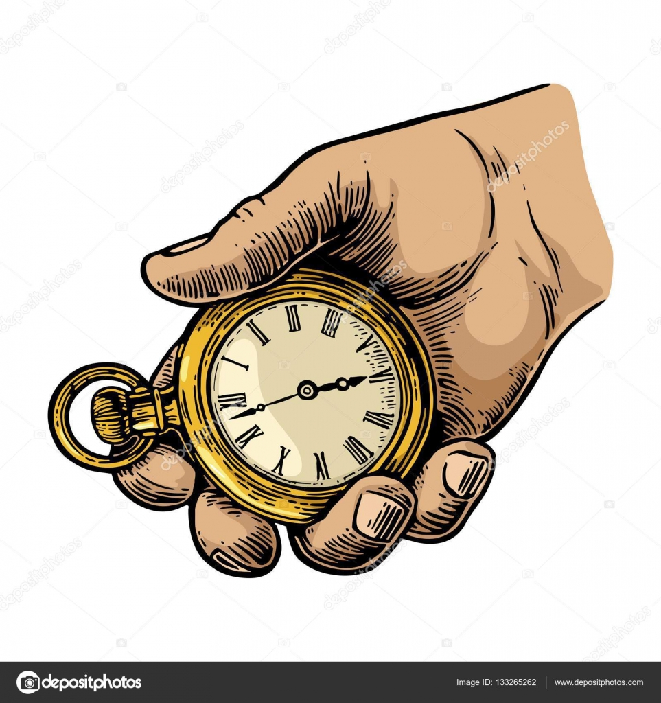 Pocket Watch clipart hand watch Watch by illustration Vector engraving