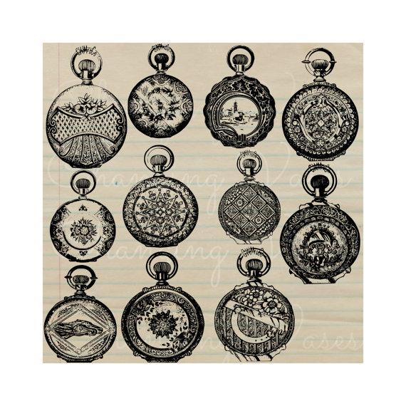 Pocket Watch clipart ornamental Digital Vintage Items Prints Transfers