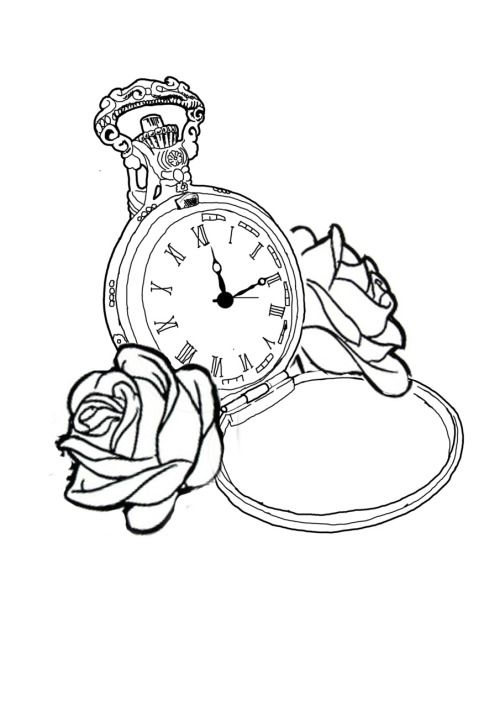 Pocket Watch clipart outline Watch Sketch Pocket Coloring Drawing