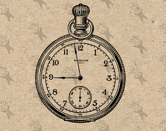 Pocket Watch clipart pocket clock Scrapbooking image digital graphic picture