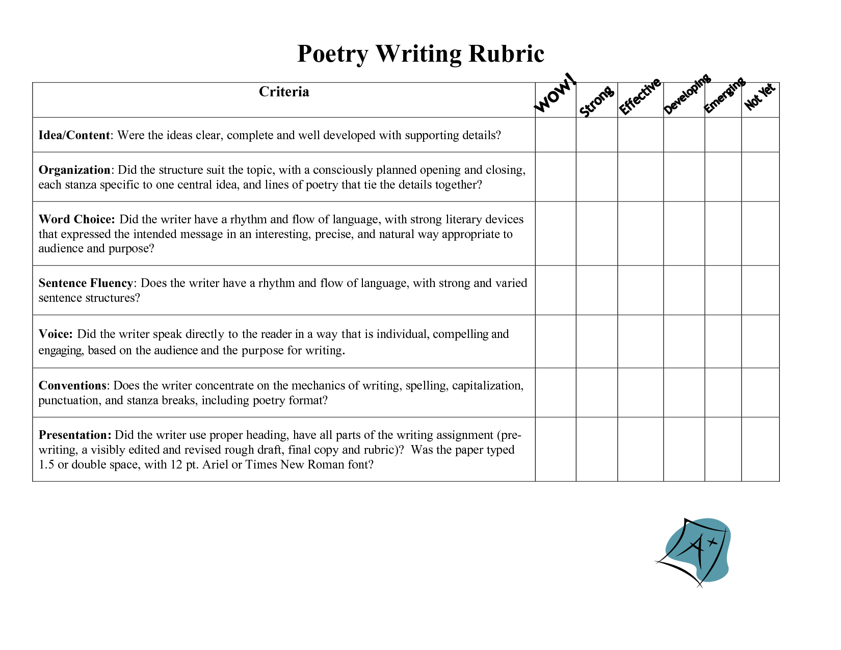 Poem clipart composition writing Poetry important covers given Rubric: