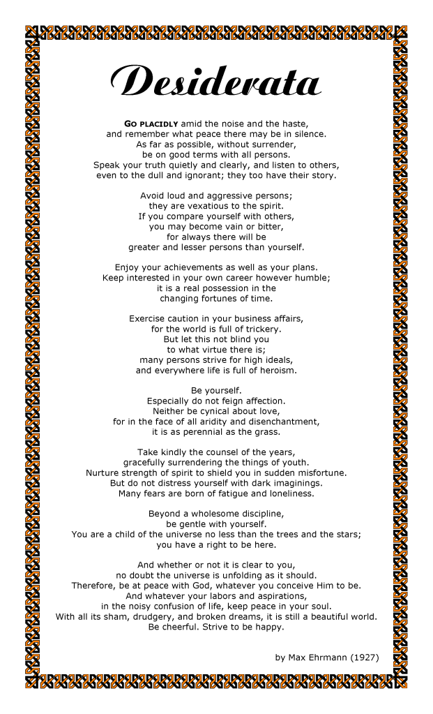 Poem clipart interested Art Desiderata Clip Free Poem