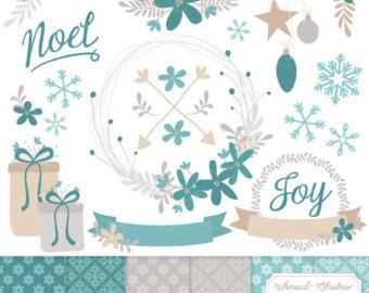 Poinsettia clipart blue Papers Set Premium Wreath Teal