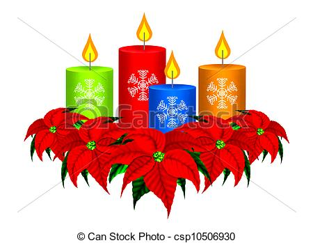 Candle clipart cartoon Christmas Poinsettia Poinsettia  A