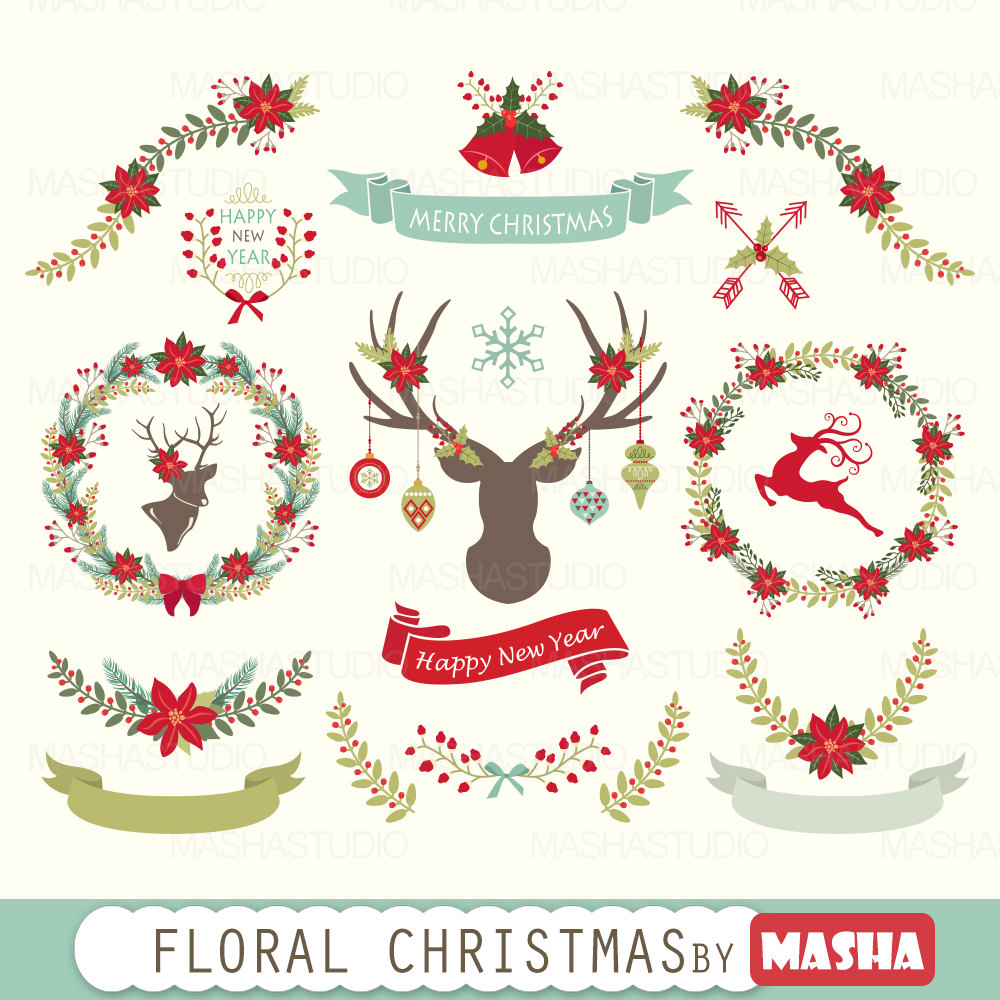 Poinsettia clipart christmas greens 300 christmas Christmas
