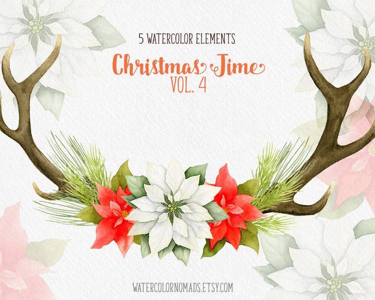 Poinsettia clipart christmas greeting Antlers poinsettia 25+ clipart The