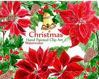 Poinsettia clipart christmas greeting Watercolor