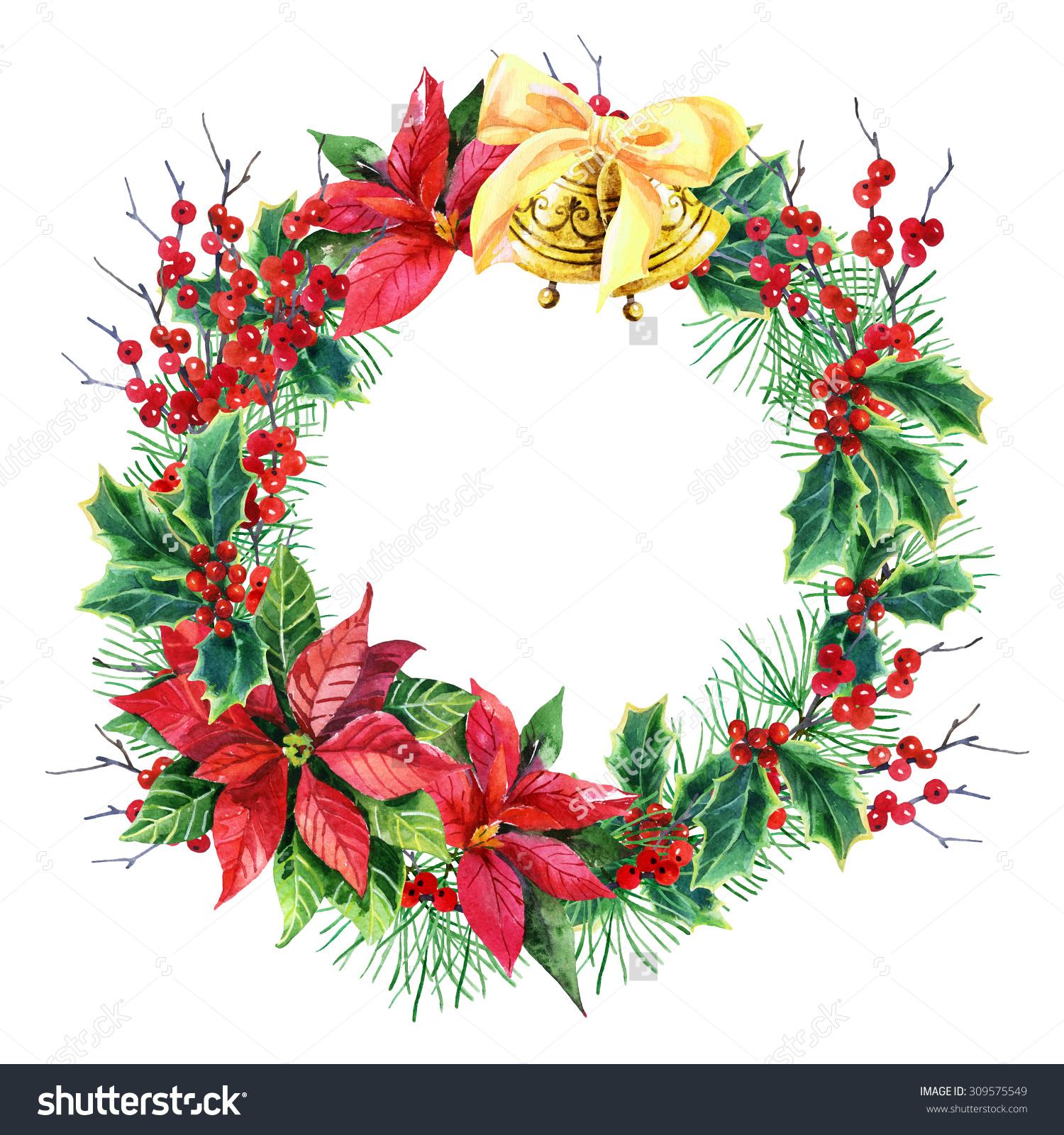 Poinsettia clipart christmas tree branches With poinsettia photo christmas pine