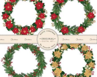 Poinsettia clipart christmas wreath Clipart Poinsettia clipart set Clipart