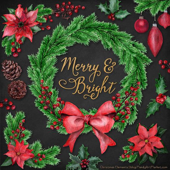 Poinsettia clipart christmas wreath Wreath is Christmas Clipart This
