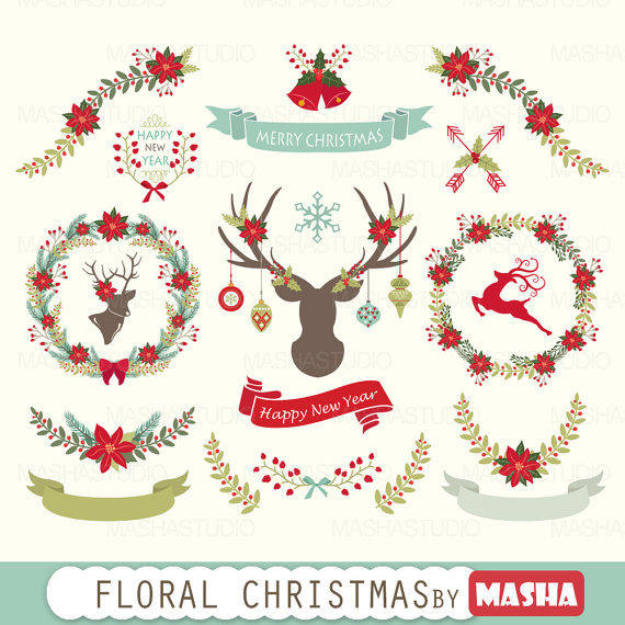 Poinsettia clipart christmas wreath Files clipart from  clipart:
