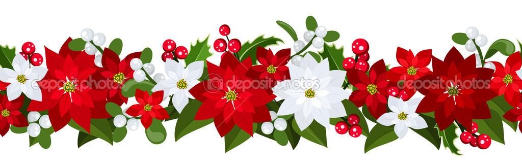 Poinsettia clipart horizontal flower border Horizontal Happy – (02) Poinsettia