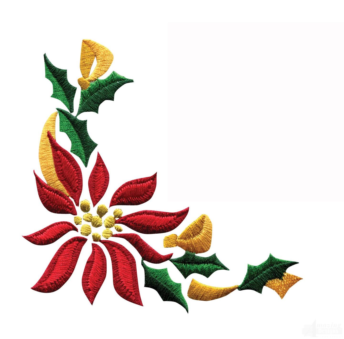 Poinsettia clipart horizontal flower border Border Poinsettia Designs 3 Embroidery