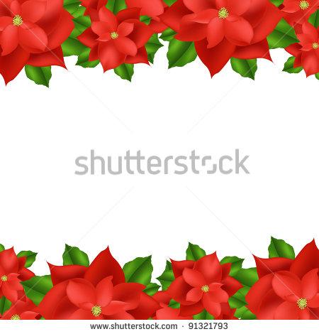 Poinsettia clipart horizontal flower border Horizontal Happy – (23) Poinsettia