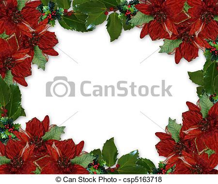 Poinsettia clipart noche buena Stock Holly border of Poinsettia