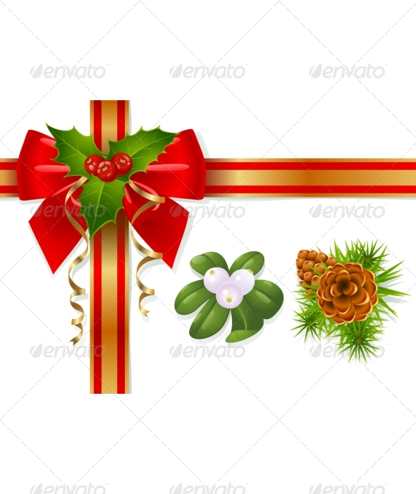 Poinsettia clipart yule Bow Christmas Ribbons and Christmas