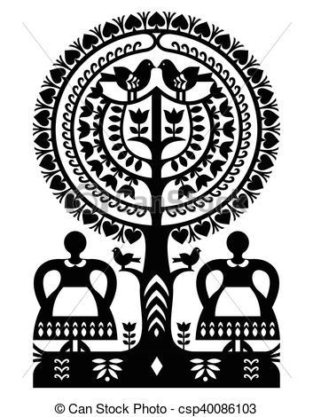 Poland clipart monochrome Vector folk art folk pattern