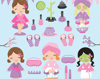 Nail clipart pamper party Cute Etsy girls clipart Girls