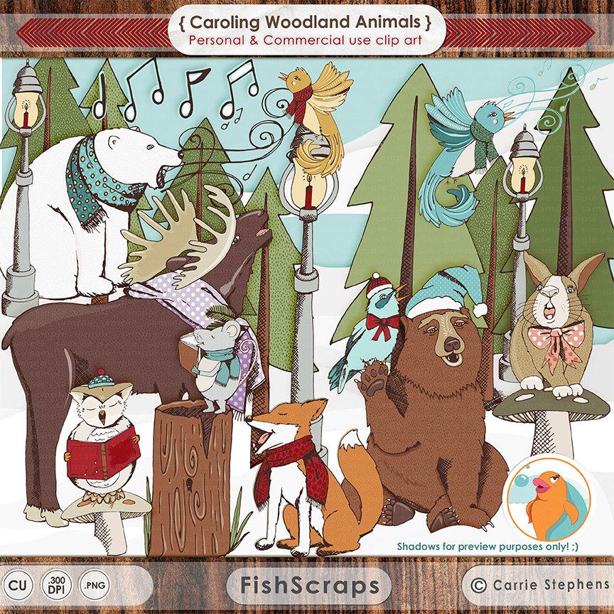 Polar Fox clipart winter Clip Art Carolling Musical Christmas