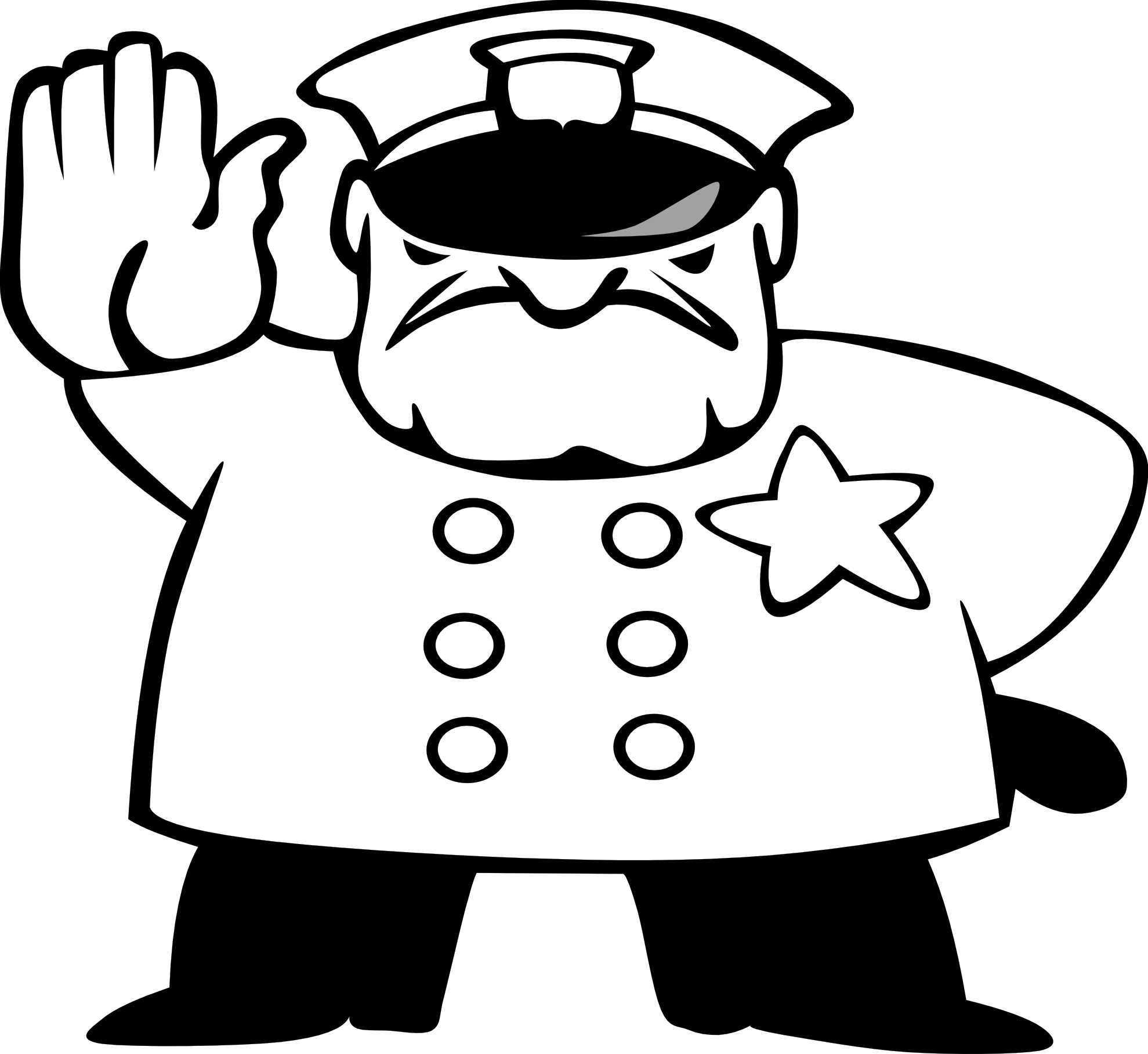Police clipart black and white Free Officer  White Black