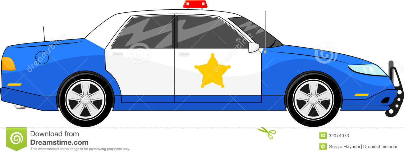 Police clipart blue Clipart car view: side blue