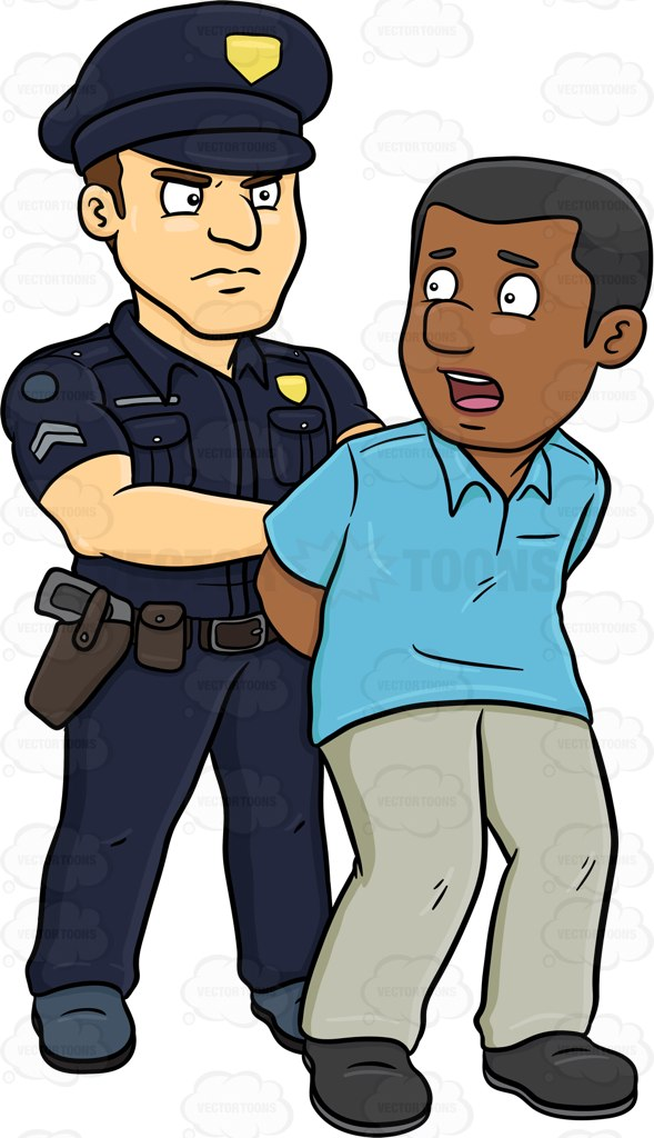 Cartoon clipart policeman A Arresting  Black Policeman