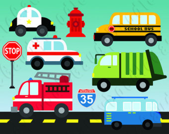 Traffic clipart car bus Firetruck Garbage Bus School Cars