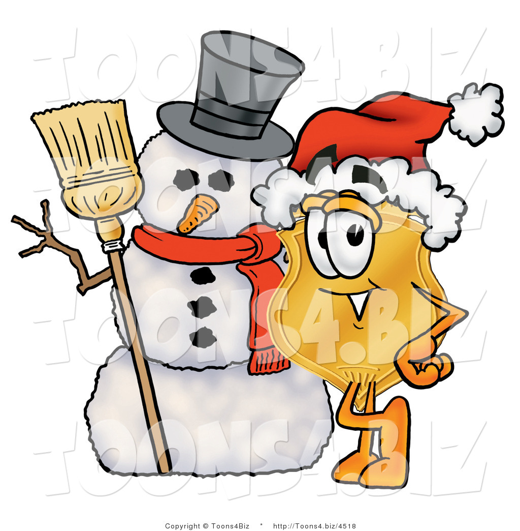 Police clipart snowman  Badge with Police Christmas