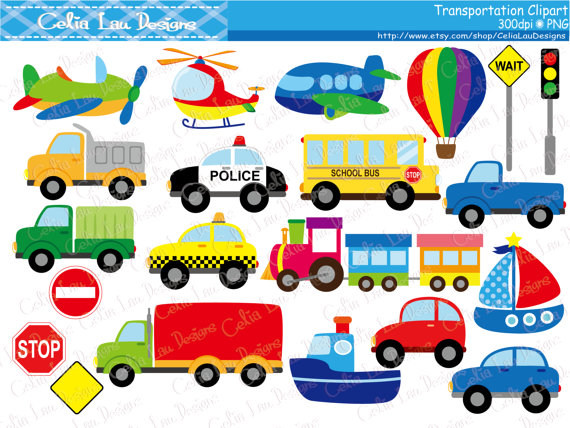 Traffic clipart car bus School Police Train Truck
