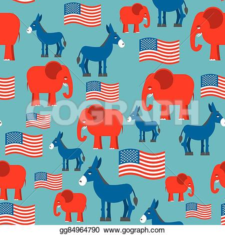 Political clipart america Seamless pattern Vector and donkey