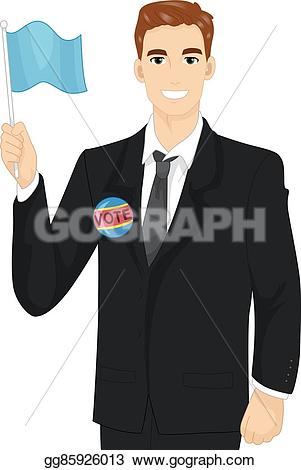 Political clipart candidate Of flag a Vector Clipart