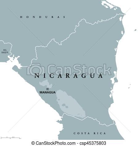 Political clipart capital Political Nicaragua map Clipart Vector