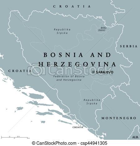Political clipart capital Csp44941305 Sarajevo Vector with map