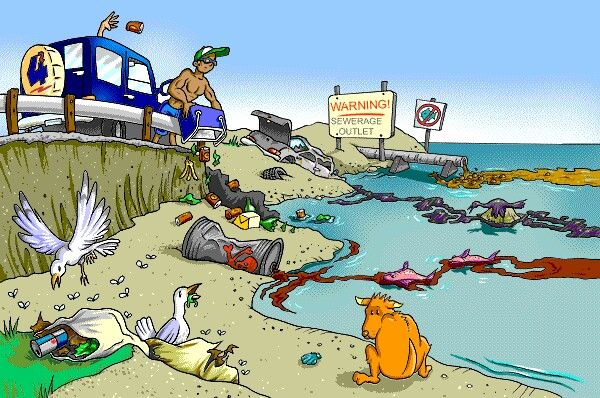 Sea clipart polluted #1