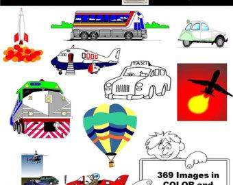 Rocket clipart air transportation Digital clip Train Etsy Transportation