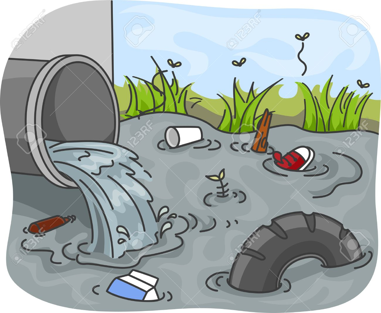 Pollution clipart river pollution #3
