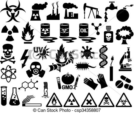 Pollution clipart vector Vector Vector of pollution icons
