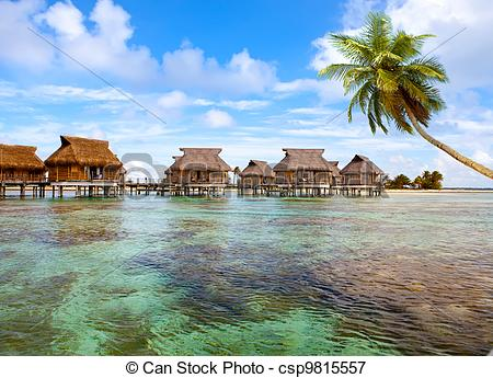 Polynesia clipart caribbean Small and seacoast with houses