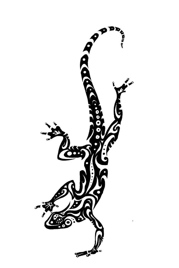 Drawn reptile tribal Lizard Polynesian lizard Stencil Designs