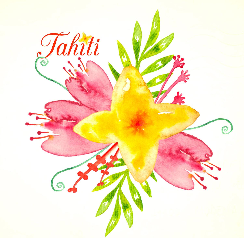 Orange Flower clipart bright flower Clipart Tahiti Tahiti yellow Romantic