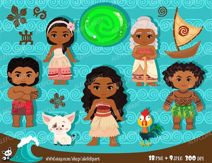 Polynesia clipart vector This Clipart Instant Moana Princess