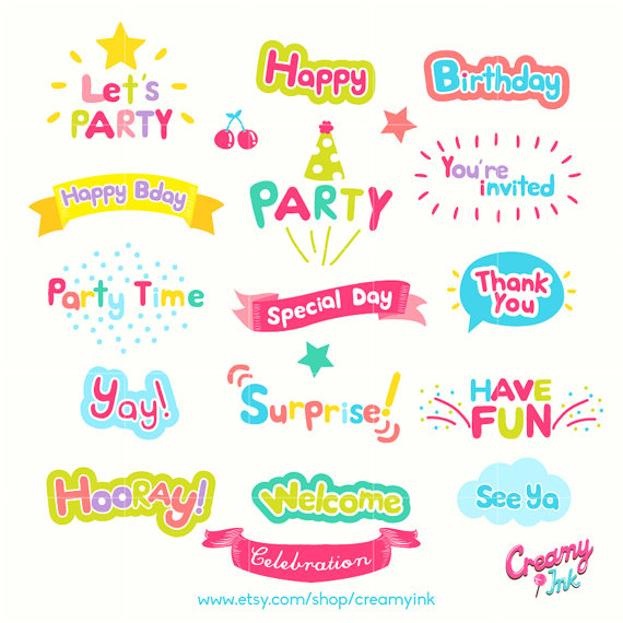 Celebration clipart invitation Art/Party Word Words Art Vector