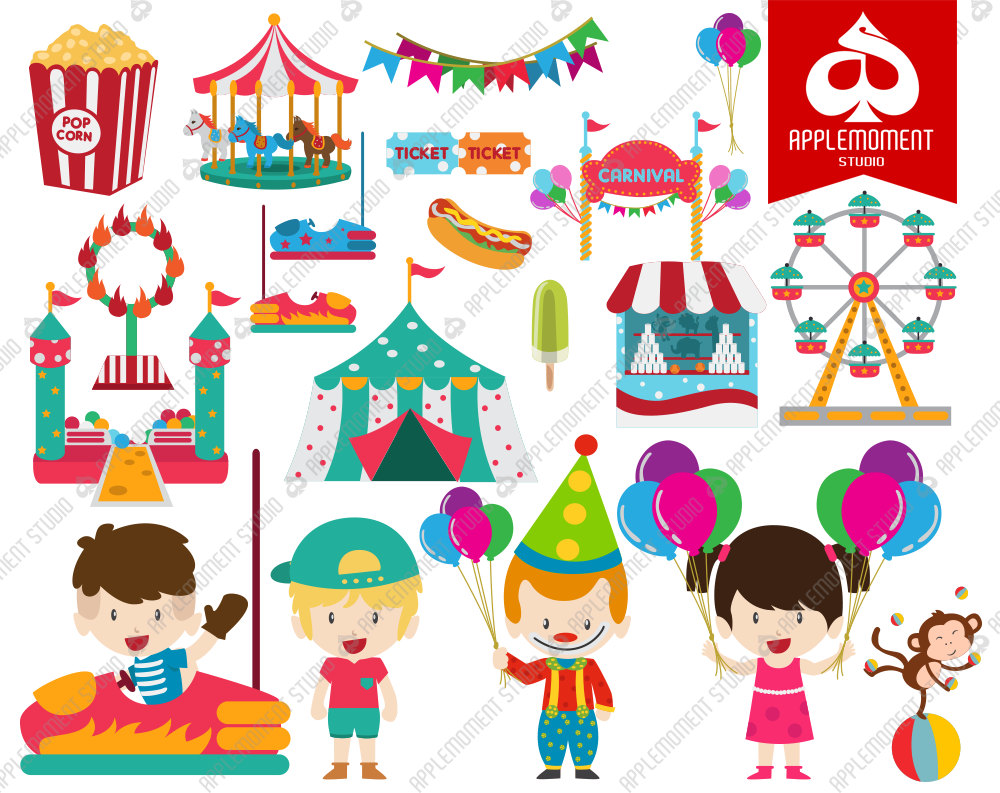 Carousel clipart kids carnival Personal clipart Etsy for Clipart