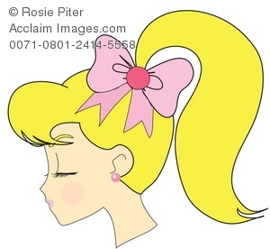Ponytail clipart A of Girl With Blond