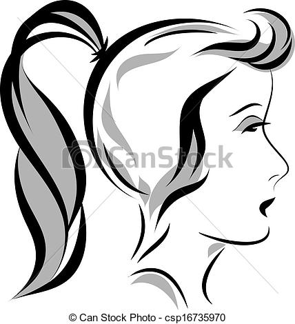 Ponytail clipart A illustration head with