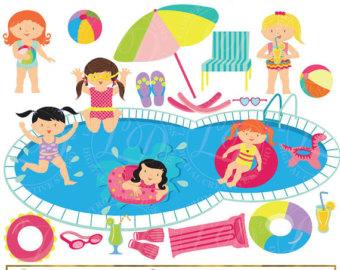 Bubble clipart pool party Pool Girls Party Clip Summer