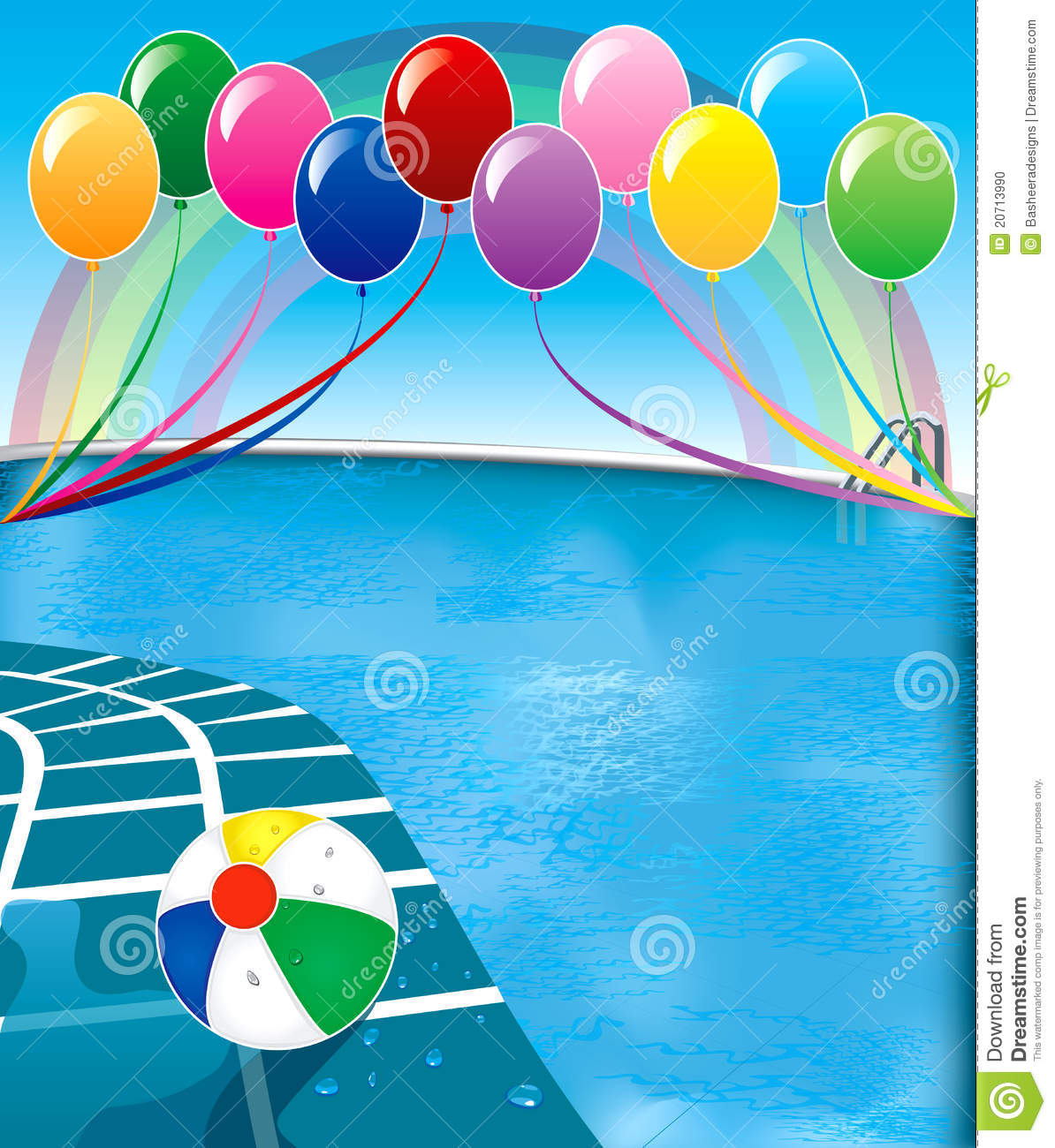 Background clipart pool party Vector pool Template com :