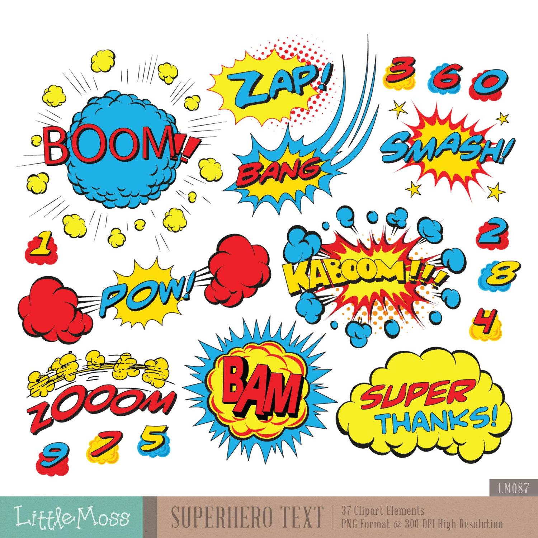 Pop Art clipart wow Superheroes Superhero Bubbles Digital Text